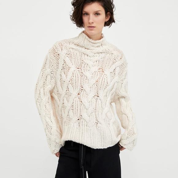 f8f43122 Zara Sweaters | Cable Knit Sweater Ecru Turtleneck | Poshmark